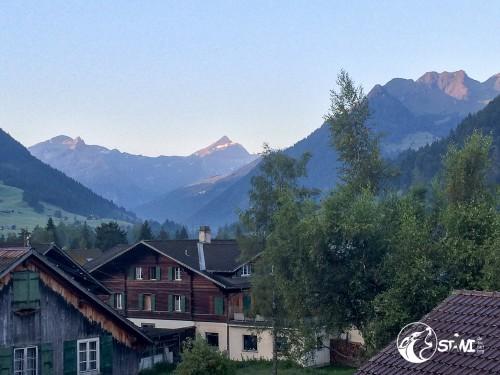 Morgendlicher Ausblick auf dem Hotelfenster.